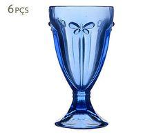 Jogo de Taças para Sorvete Borboleta Azul - 240ml
