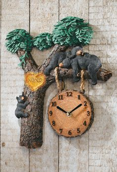 COLLECTIONS ETC.          Napping Bears Lighted Woodland Wall Clock w/ Sound