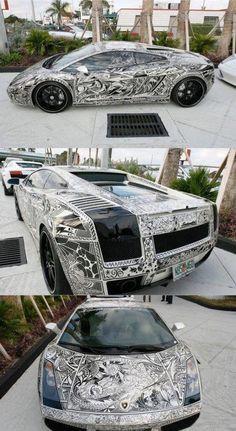 Custom Black & White Graffiti Lamborghini
