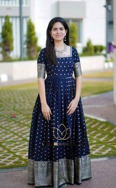 Half Saree Designs, Bridal Blouse Designs, Long Gown Design, Frock Models, Long Gown Dress, Flowy Gown, Girls Frock Design, Indian Gowns Dresses, Brocade Dresses