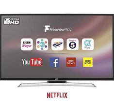 JVC 43 inch 4k Ultra HD (Resolution: 3840 x 2160) Smart LED TV with Freeview Play and Built-in WiFi – Black Smart Televisions, 4k Ultra Hd Tvs, Kitchen Electronics, Dvb T2, Tv Services, Played Yourself, Home Entertainment, Live Tv