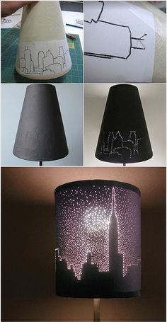 Tape picture to lampshade. Poke pins through on lines to create cool effect when lamp is on.