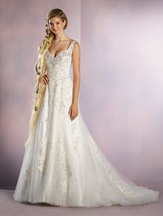 Fresh Rapunzel white and silver Alfred Angelo Bridal Style Coming Soon from Disney Fairy Tale Bridal