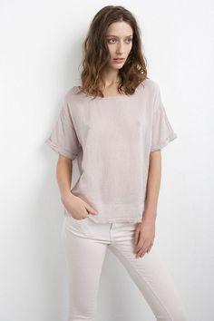 Lantana Cotton Gauze Roll Sleeve Top