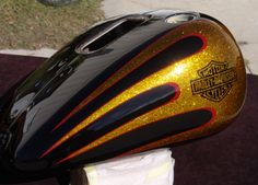 Black base - Candy gold metalflake with painted bar and shield logo