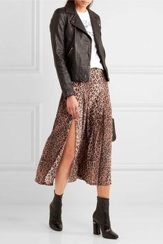 f2595ee6a880d RIXO - Georgia pleated leopard-print silk skirt