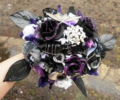 Brooch Bridal Bouquet Vintage Gothic Lolita Black by artforahome, $140.00