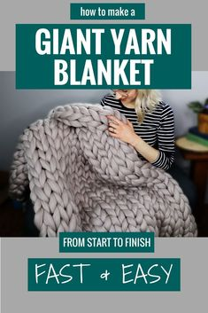 Fast and easy tutorial on how to make a gorgeous classic giant yarn blanket from start to finish with Anja from Peony & Thyme! Fast and easy tutorial on how to make a gorgeous classic giant yarn blanket from start to finish with Anja from Peony & Thyme! Chunky Yarn Blanket, Knot Blanket, Hand Knit Blanket, Knitted Blankets, Chunky Knit Throw, Large Knit Blanket, Blanket Crochet, Diy Arm Knitting Blanket, Diy Easy Blankets