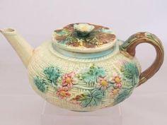 Beautiful Antique Floral Basket Weave Majolica Tea Pot | eBay
