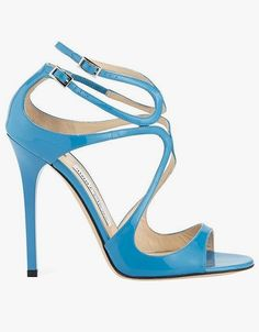 Jimmy Choo Lang patent strappy 100mm sandals in robot blue.