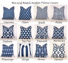 Navy Outdoor Pillow Cover - Oxford Blue and White PILLOW - Lumbar - Various Sizes - Dark Blue Pillow Cover - Sunroom - 20x20,18x18,22x22