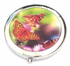 Yellow with Black Spots Butterfly Compact Mirror