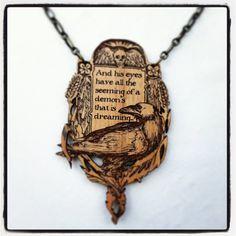 Edgar Allen Poe Raven engraved alder wood by MonicaLKnighton, $30.00