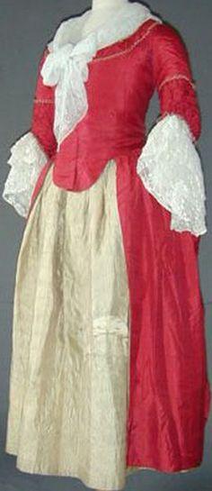 Raspberry silk robe a la polonaise, c. 1770-80.
