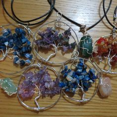 Tree  of life and stone wrapped pendants
