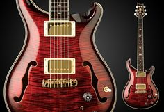 PRS PS# 935 Hollowbody II | Ruby Red Burst. Curly Maple Top. Curly Maple Back. Curly Maple Sides. Curly Maple Neck. Mother of Pearl Bird Inlays with 14k Gold Outlines. Green Rippled Abalone, Ivoroid, White and Black Purfling and Binding.
