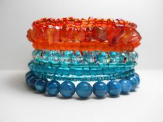 tangerine and turquoise wrap bracelet