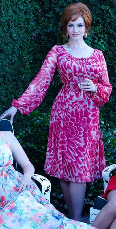 1976 Joan Holloway fuschia dress with poofy sleeves, Mad Men season 7.5 promo shots via TLo