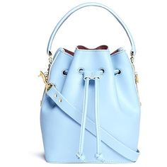 Sophie Hulme Small leather drawstring bucket bag (€780) ❤ liked on Polyvore featuring bags, handbags, shoulder bags, purses, blue, leather bucket bag, leather purse, blue purse, blue handbags and genuine leather purse