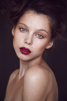 Agnes Pulapa by Thomas Babeau - red lips and nude eyes