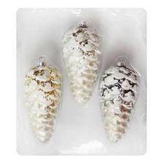 Christmas Glass Ornament Set 3 Ct  Pinecone