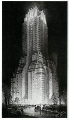 metropolisoftomorrow:    The Majestic Hotel 1930; illustration by Hugh Ferriss (via dieselpunks: paul.malon)