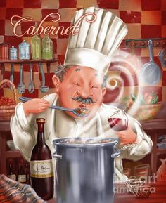 Busy Chef With Cabernet. DescriptionChef keeps busy making his favorite soup for you while sipping on a glass of wine! Fun artwork for your kitchen or dining room decor. Artist, Shari Warren.