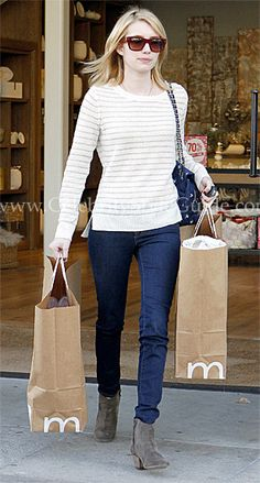 Emma Roberts and Rebecca Taylor Metallic Stripe Cashmere Pullover Sweater, Isabel Marant Dicker Boots, Rebecca Taylor Kitty Bag. See the latest Emma Roberts style, fashion, beauty, trends, wardrobe and accessories. View ratings and vote on Emma Roberts style and fashion.