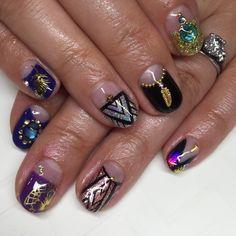 "Sparkle SF Nail Studio on Instagram: ""The kitchen sink of nail art for Kei ✨ #nails #nailart #gelnails #sparklesf"""