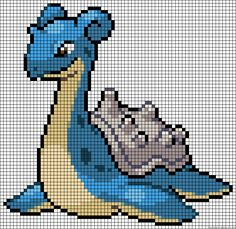 MINECRAFT PIXEL ART – One of the most convenient methods to obtain your imaginative juices flowing in Minecraft is pixel art. Pixel art makes use of various blocks in Minecraft to develop pic… Lapras Pokemon, Pixel Pokemon, Beaded Cross Stitch, Cross Stitch Embroidery, Cross Stitch Patterns, Perler Patterns, Fuse Bead Patterns, Grille Pixel Art, Pixel Art Anime