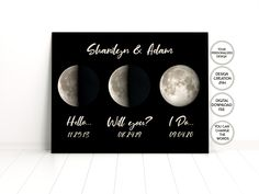 Moon phase,Personalized Moon Maps Printable,Hello,Will you,I Do,Personalized Wedding Gifts,1st Anniversary Paper Gifts,2nd Anniversary Gifts 2nd Anniversary Gifts, Moon Map, Printable Art, Printables, Custom Map, Personalized Wedding Gifts, Moon Phases, Map Art, Paper Gifts