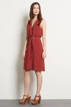 All | Red OPEN COLLAR D RING DRESS | Warehouse