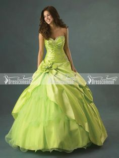 Sage Ball Gown Sweetheart Floor-length Taffeta and Organza Quinceanera Dresses with Beading and Hand-Made Flower