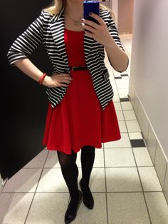 Black & white striped blazer adds a bit of edge to the a-line red dress. #fashionista #fashion #outfit