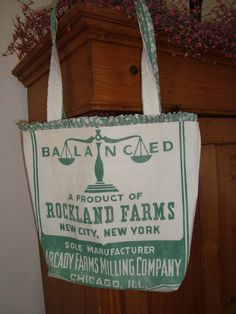 vintage ROCKLAND FARMS Chicago IL feed sack bag or purse Gussied by ginnymae