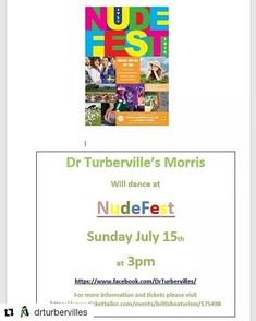 For something different!  @drturbervilles  Join the Turbs at their first appearance at NudeFest on Sunday 15th July at Thorney Lakes - dancing from 3pm.  #somerset #NudeFest @british_naturism #morrisdancing #morris #penguin