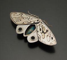"""Leopard Moth (Shaman series)"" -- mokume gane moth by Amanda Frazier"