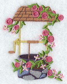 Fashion Flower Wishing Well 1 design (F5132) from www.Emblibrary.com
