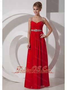 Beaded Decorate Shoulder Chiffon Empire Floor-length Straps 2013 Prom Dress- $139.45  http://www.fashionos.com   floor length prom in red | homecoming red prom dress | cheap chiffon prom dress under 200 | red long prom dress 2013 | where to buy red chiffon prom dress | spaghetti straps long prom dress |
