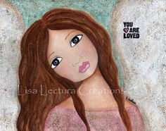 You are Loved Folk Art Angel 5x7 Print by Lisa Lectura via Etsy