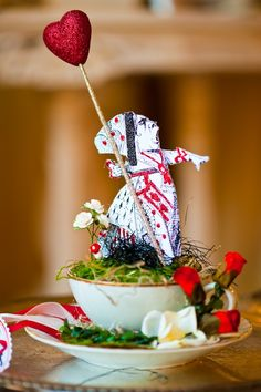 Queen of Hearts Tea Party in a Cup by OvertheTopStudios on Etsy, $59.00