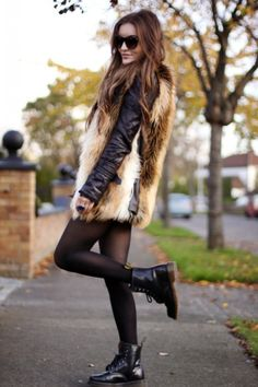 brown fur, black leather jacket , black tights, and doctor martens! My Fashion Book