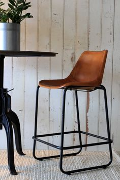 Following the success of the leather dining chair we are thrilled to launch our own Leather Bar Stool Created in tan leather with strong legs this