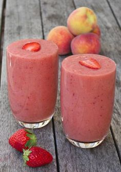 Peach smoothie is delicious and healthy mixed drink with fresh fruits and almond milk.