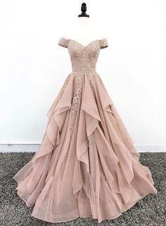 Champagne Tulle Off Shoulder V Neck Lace Evening Dress, Ruffles Senior Prom Dress D-012
