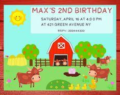 Invitación Banners Toppers animales de la granja Fiesta
