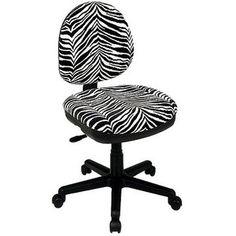 Task Chair: Office Star Zebra-Print Swivel Desk Chair, Black/White