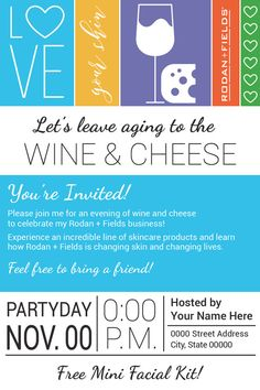 Rodan and Fields (Big Biz Launch) Wine & Cheese Party Evite or Printable Invite customized with your address, party start time and date. ***This listing is only for a digital file. Please ensure you have read all details prior to purchase.*** This listing includes: 1 Web Resolution Evite jpeg file 342 X 486 px 1 High Resolution Print Ready jpeg file (fits in 5x7 envelope) 4.75 X 6.75 in 1 High Resolution Print Ready PDF file 8.5 x 11 in (There are 2 copies of the invite with crop marks...