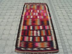 Turkish Kilim Hand Woven Rug Runner Carpet 43'' X 108'' INCHES - 110 X 274 CM