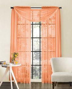 peach window curtains